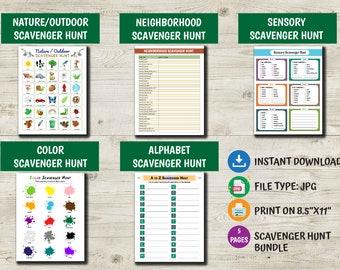 Outdoor Scavenger Hunt for Kids, Park Treasure Hunt, Nature Walk, Hiking Printables, Alphabet Activity, Color Hunt, Printable Outdoor Games