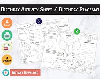 Birthday Placemat, Birthday Activity Sheet, Birthday Printable, Kids Activity Page, Printable Placemat, Birthday Party Activity for Kids,PDF