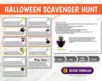 Halloween Scavenger Hunt Printable, Halloween Treasure Hunt for Kids, Candy Hunt, Halloween Games, Halloween Activities, Treasure Hunt Clues