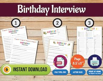 Birthday Interview, Birthday Questionnaire, Birthday Questions, Year in Review, Birthday Activity for Kids, About Me, Birthday Quiz for Kids