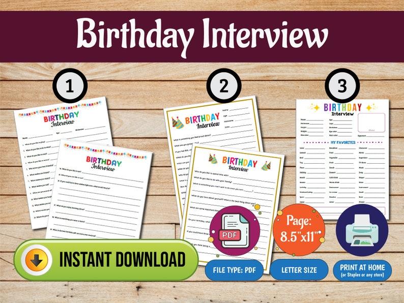 Birthday Interview Birthday Questionnaire Birthday image 0