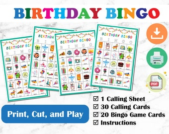 Birthday Bingo! Birthday Party, Printable Games for Kids, Prefilled Bingo Cards, Picture Bingo with Images, Family Games, Birthday Activity