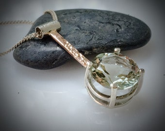 925 Sterling Silver and 14K Rose Gold Prasiolite with Diamond Pendant
