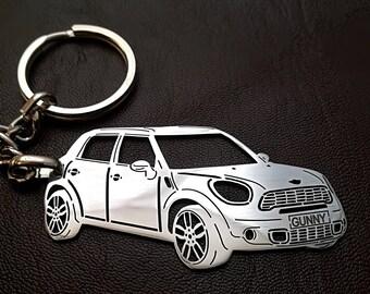9e4e4b5a93 Mini Cooper Countryman, mini cooper keychain, mini cooper personalized  gift, father's day gift, keychain, personalised keyring