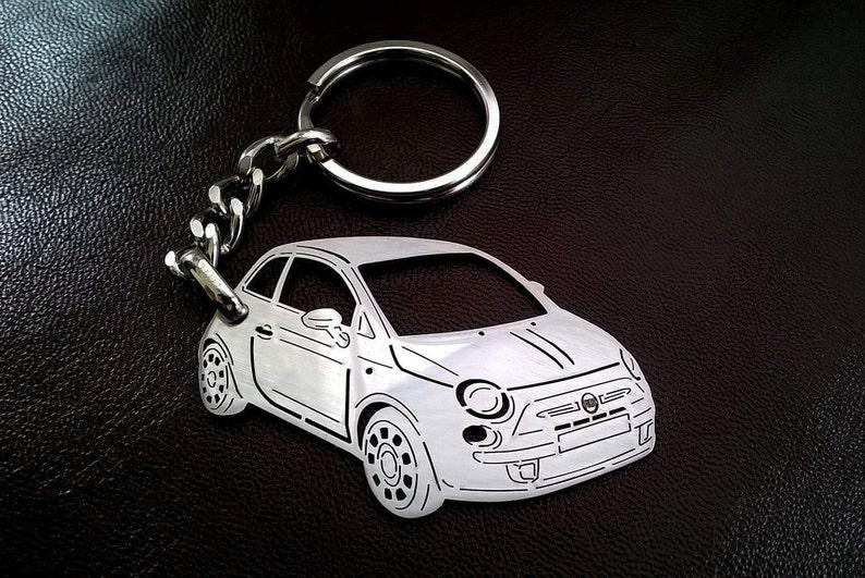 Birthday Fiat 500 Fiat 500 Keychain Personalized Keyring Custom Keychain Stainless Steel Keyring Fiat Keyring Birthday
