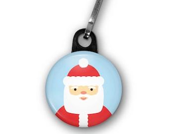 "Santa Zipper Pull, 1.25"" Diameter, Santa Claus Zipper Charm, Stocking Stuffer, Small Christmas Gift"