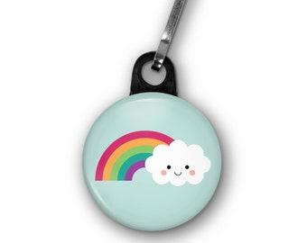 "Rainbow Cloud Zipper Pull Charm Accessory, 1.25"" Diameter, Cute Kawaii Small Gift, Meteorology Gift"