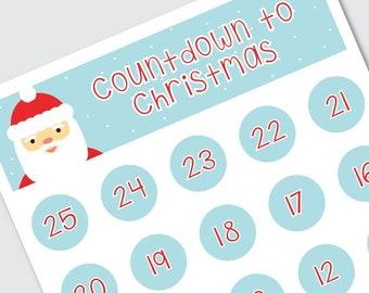 "Printable Christmas Countdown, INSTANT DOWNLOAD, Printable Santa Countdown Calendar for Kids, 8.5x11"" Christmas Advent Calendar"