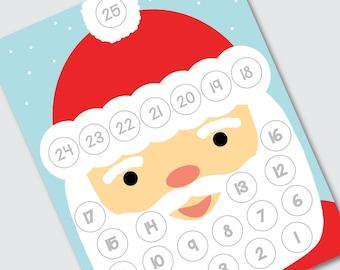 "Printable Christmas Countdown, INSTANT DOWNLOAD, Cotton Ball Santa Beard Countdown Calendar, Advent Calendar for Kids, 8.5x11"""