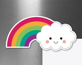 Rainbow Cloud Magnet, Kawaii Car Refrigerator Fridge Locker Magnet, Cute Spring Magnet, Weatherproof, Small Gift, Meteorology Gift