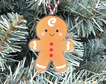 Gingerbread Man Ornament, Christmas Cookie Tree Decoration, Cute Gingerbread Boy Ornament