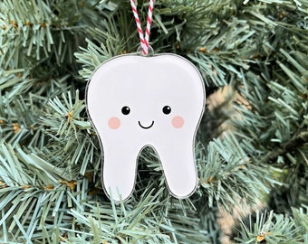 Cute Tooth Ornament, Tooth Christmas Tree Decoration, Small Gift for Dental Hygienist, Dental Assistant, Dentist, Dental Student