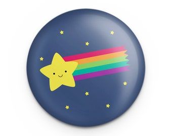"""Shooting Star Pin, Cute Rainbow Comet Outer Space Button, 1.25"""" Pinback, Cute Small Gift for Science Teacher, Astronomy Gift"""