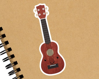 Ukulele Sticker, Ukulele Uke Music Teacher Gift, Laptop Water Bottle Planner Vinyl Decal, Ukulele Lover Gift, Small Ukulele Gift