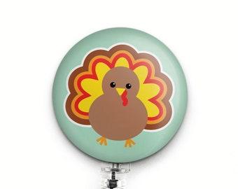 Cute Turkey Badge Reel, Small Gift for Pediatric Nurse, RN, Dental Hygienist, Teacher, Thanksgiving Badge Holder