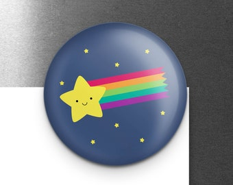 """Shooting Star Magnet, Cute Rainbow Comet, Outer Space Refrigerator Fridge Locker Magnet, 1.25"""", Small Gift for Science Teacher, Astronomy"""
