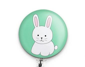 Bunny Badge Reel, Cute Easter Badge Holder, Small Gift for Dental Hygienist, RN, Pediatric Nurse, Teacher, Easter Bunny Badge Reel