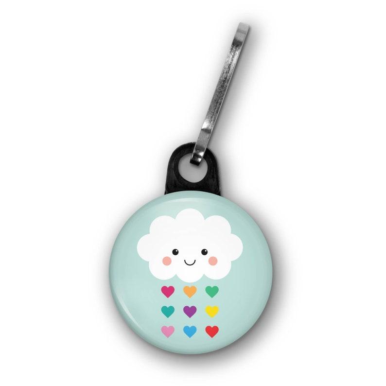 Cute Kawaii Cloud Rainbow Zipper Pull Charm Accessory Raining image 0