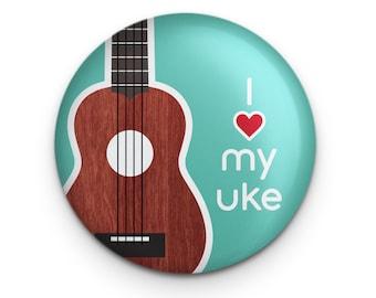 """Ukulele Pin, Music Teacher Gift, 1.25"""" Button, Small Ukulele Gift, Uke Accessory, Ukulele Student Gift"""