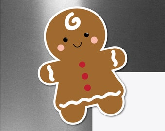 Gingerbread Girl Magnet, Cute Small Christmas Gift Decor, Gingerbread Woman Car Magnet