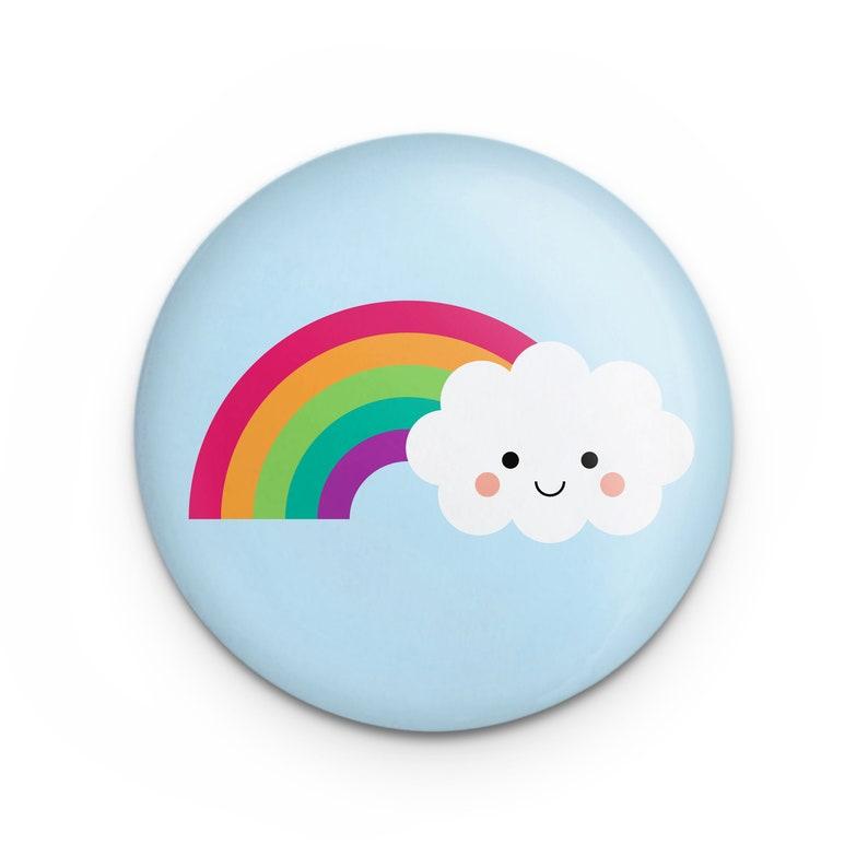 Rainbow Cloud Button Pin 1.25 Diameter Cute Kawaii image 0