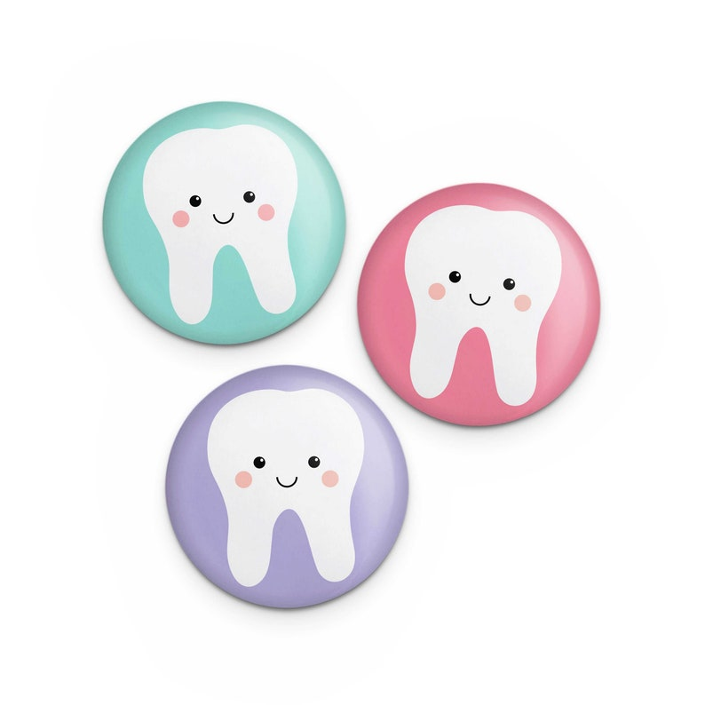 Cute Tooth Button Set Gift for Dental Hygienist Assistant image 0
