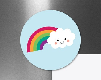 "Cute Rainbow Cloud Magnet, Kawaii Car Refrigerator Fridge Locker Magnet, Weatherproof Magnet, Cute Small Gift, 3"""