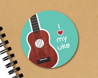 "Ukulele Sticker, Ukulele Uke Music Teacher Gift, Laptop Water Bottle Planner Vinyl Decal, 3"", Ukulele Lover Gift, Small Ukulele Gift"