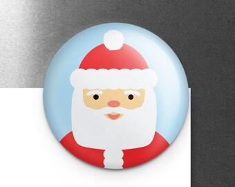 "Cute Santa Magnet, Santa Claus Christmas Magnet, Refrigerator Fridge Locker Magnet, 1.25"", Cute Stocking Stuffer, Small Christmas Gift"