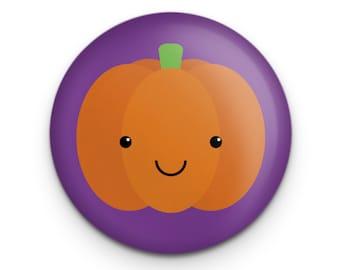 "Cute Pumpkin Button, Kawaii Cute Halloween Jack O Lantern Button Pin Badge, 1.25"" Diameter, Halloween Party Favor"