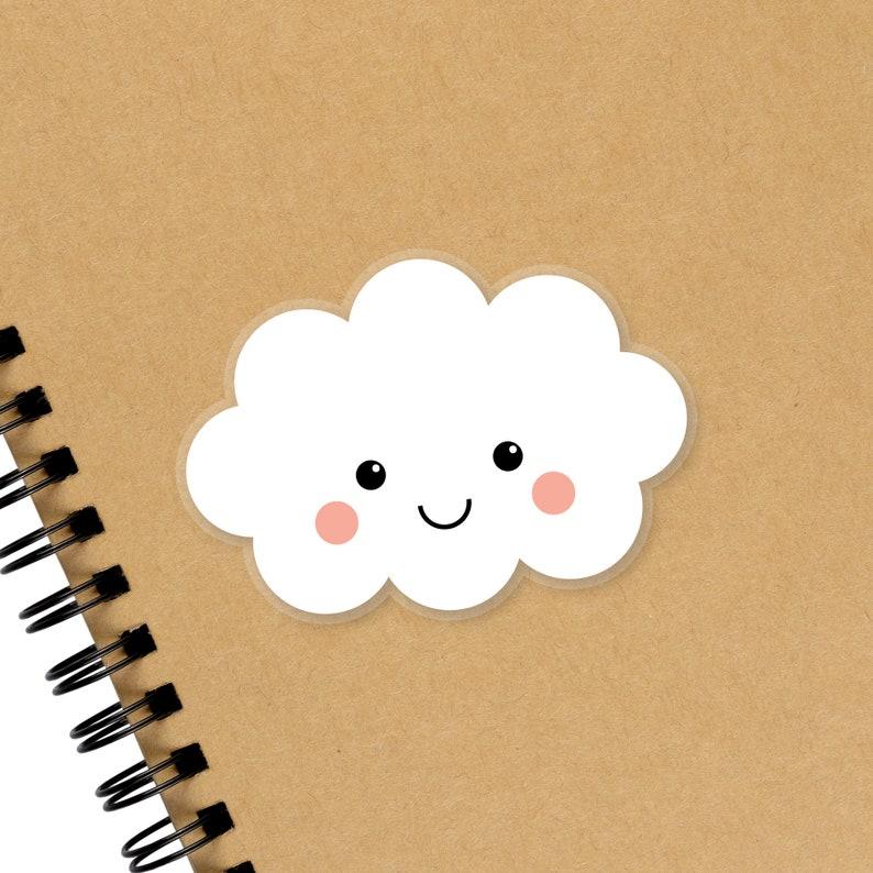 Cute Cloud Sticker Kawaii Laptop Water Bottle Planner Vinyl image 0