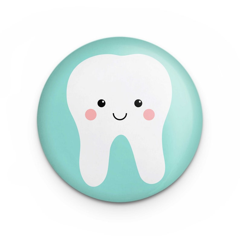 Cute Tooth Button Pin Gift for Dental Hygienist Assistant image 0