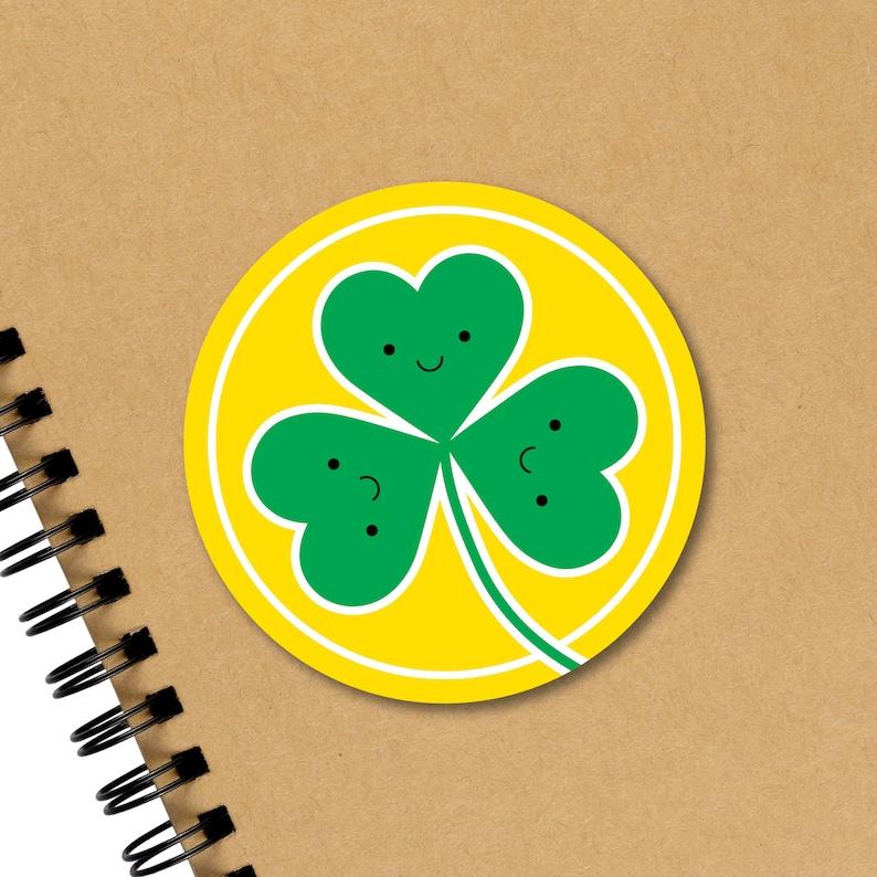 Cute Shamrock Sticker St Patrick's Day Sticker Laptop image 0