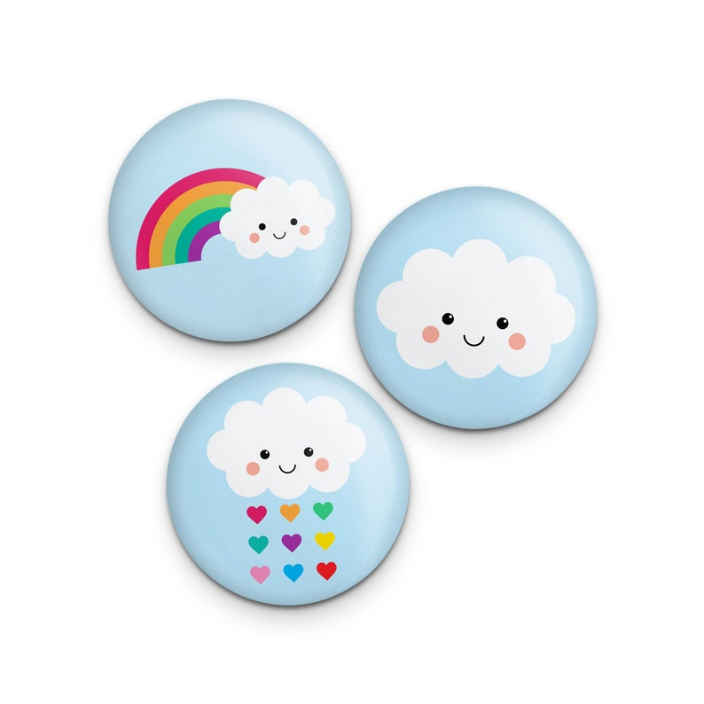 Cute Rainbow Cloud Button Set 1.25 Kawaii Pin Set image 0