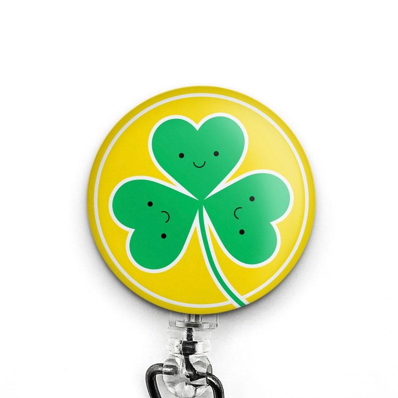Cute Shamrock Badge Reel St Patricks Day Badge Reel Clover image 0