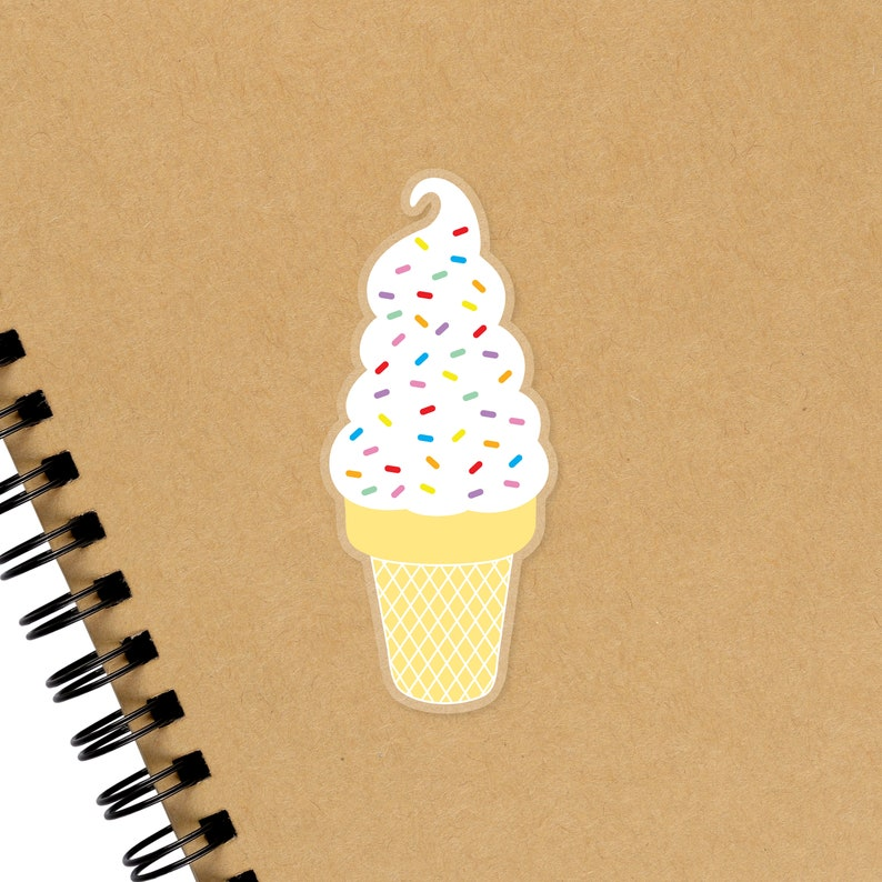 Ice Cream Cone Sticker Vanilla Soft Serve Sprinkles Sticker image 0