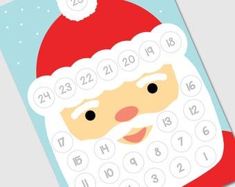 A3 Printable Santa Beard Countdown Calendar for Kids, INSTANT DOWNLOAD, Cotton Ball Santa Claus Christmas Advent Calendar, 297x420 mm