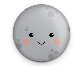 """Cute Moon Pin, Kawaii Moon Button, Full Moon Outer Space Button, 1.25"""" Pinback, Small Gift for Science Teacher, Astronomy Gift, Lunar Pin"""