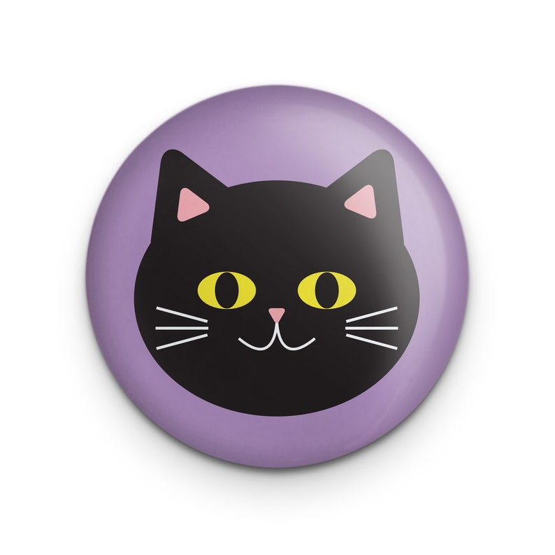 Cute Black Cat Pin Button 1.25 Pinback Small Gift for image 1