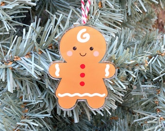 Gingerbread Girl Ornament, Christmas Cookie Tree Decoration, Cute Gingerbread Woman Ornament