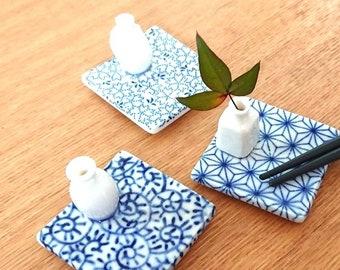 4 PCS Japanese Ceramic Hashioki Blue Carp Fish Chopstick Rest Set Made in Japan