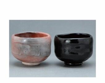 Aka-Raku Chawan Tea bowl Raku ware Nippon2You Taiko Drum Shape