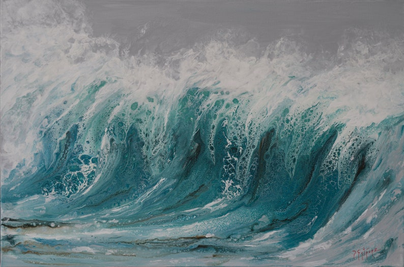 Turquoise waves fluid acrylic abstract painting wild sea image 0