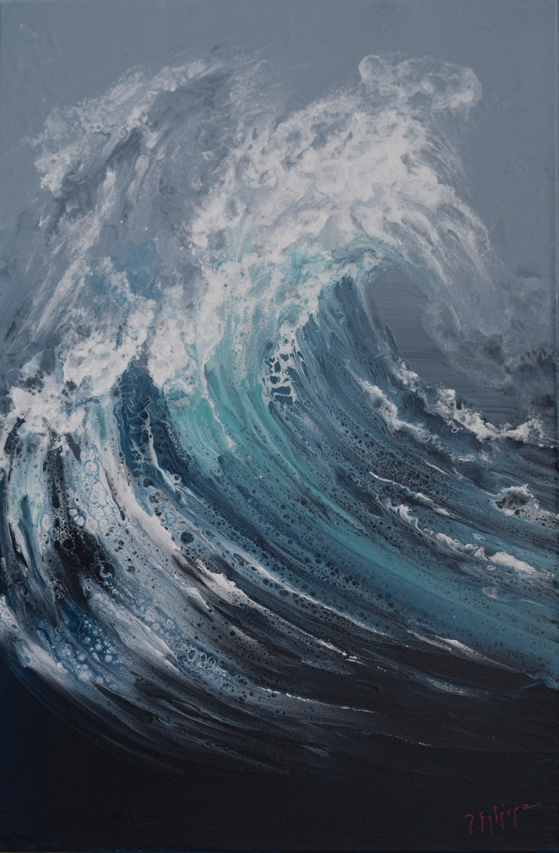 Moving waters wild waves original painting fluid acrylic image 0