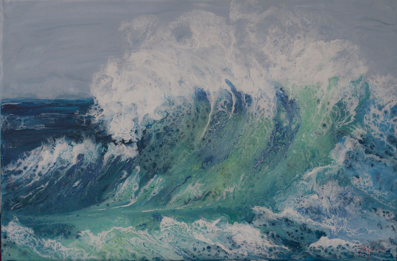 Original painting waves in the sea contemporary painting image 0