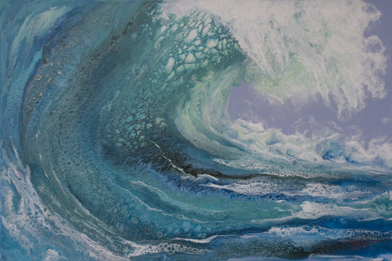 Big wave original painting transparent waters abstract image 0