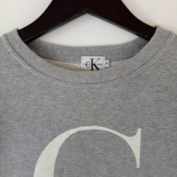 CALVIN KLEIN CK sweatshirt Big Logo ladies pullover rare hip hop rap casual streetwear medium size sweater