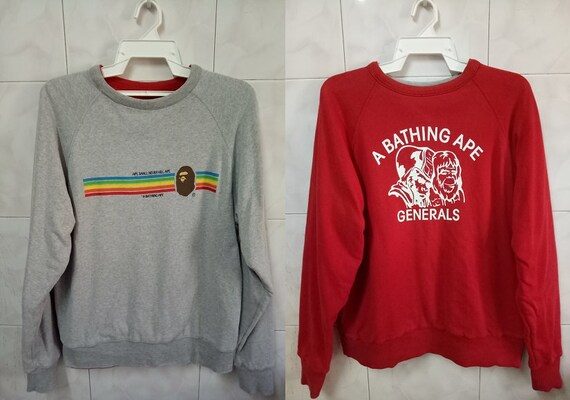 Ape made colour busy size and rare sweatshirt sweater Generals super BAPE works in red Bathing Japan Small Reversible gray 5Pnfw