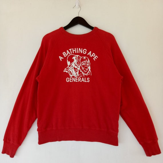 busy rare Japan works super made colour Generals Ape sweater red in Bathing gray size Small and sweatshirt BAPE Reversible zqvTnOC