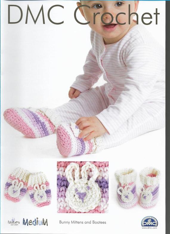 Crochet bebé conejito mitones y escarpines patrón único hilo   Etsy